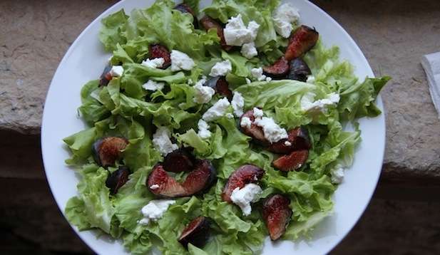 Mache, Fig and Chevre Salad at home in Languedoc